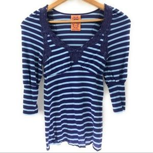 Free People Blue Striped 3/4 Sleeve Blouse, XS